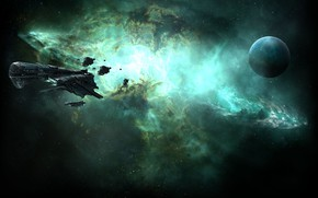 Picture nebula, planet, Space, space, spaceship, eve online, space ship, coooper