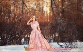 Picture look, girl, trees, pose, dress, beautiful, Polina Panova, Anastasia Grosheva