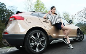 Picture auto, look, Girls, Asian, beautiful girl, posing on the car, Volvo V40 Cross Country D2