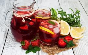Picture berries, lemon, glasses, drink, pitcher, lemonade, ice cubes