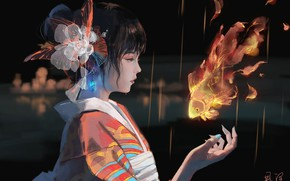 Picture girl, magic, Asian