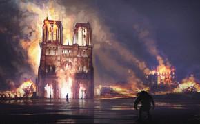 Picture night, fire, France, Paris, Notre Dame Cathedral, Notre Dame de Paris, burned, Notre-Dame de Paris, …