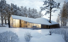 Picture winter, snow, trees, house, house, forest, architecture, cottage, modern, winter, modern, cottage, modern design, Architecture