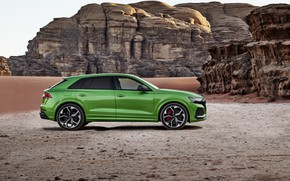 Picture Audi, desert, side view, crossover, 2020, RS Q8