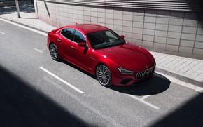 Picture auto, Maserati, red, Ghibli S