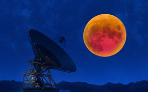 Picture night, the moon, Eclipse, Radio