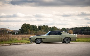Picture Road, Grass, Trees, Chevrolet, 1969, Camaro, Chevrolet Camaro, Muscle car, Classic car, Wide Body Kit, …