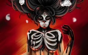 Picture Girl, Look, Paint, Style, Background, Calavera, Day of the Dead, Day of the Dead, Sugar …