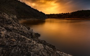 Picture forest, sunset, mountains, stones, shore, the evening, pond, rocky, sunset sky
