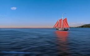 Picture the ocean, sailboat, horizon, scarlet sails