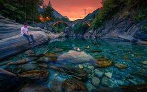 Picture landscape, sunset, mountains, bridge, nature, river, stones, the bottom, Switzerland, Alps, male, forest, Verzasca