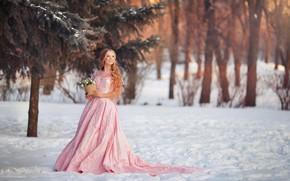 Picture winter, look, girl, trees, nature, smile, Park, dress, Polina Panova, Anastasia Grosheva