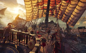 Picture the sun, the game, ship, battle, sails, game, knights, Assassin's Creed, hoplites, Assassin's, Odyssey, Assassins …