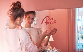 Picture lips, look, reflection, mirror, Barbara Palvin
