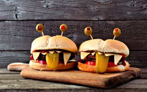 Picture olives, hamburgers, for children