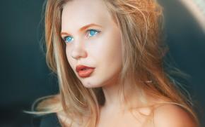 Picture look, girl, face, hair, portrait, sponge, blue eyes, Alexander Drobkov-Light, Yana Kovaleva