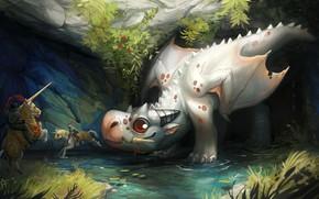 Picture dragon, fantasy, art, knight, hunters, Andrea Radeck, SCG - Dragon