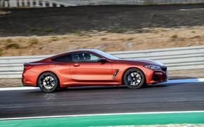 Picture coupe, BMW, profile, track, Coupe, 2018, 8-Series, dark orange, M850i xDrive, Eight, G15