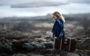 Picture background, girl, suitcase