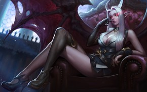 Picture girl, blonde, sitting, demoness