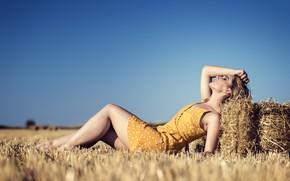 Picture field, summer, girl, Elena