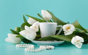 Picture background, blue, bouquet, tulips, beads, white
