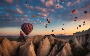 Picture balloons, rocks, the evening, Turkey, Cappadocia, Materov., tuff