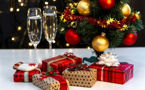 Picture balls, tree, glasses, gifts, New year, New Year