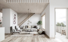 Picture interior, ladder, balcony, living room, Scandinavian Mood