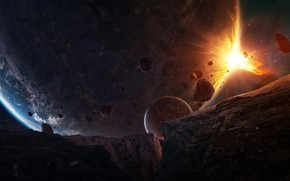 Picture Sunrise, Planet, Space, Planet, Planets, Art, Space, Art, Satellite, Planet, Fiction, Asteroids, Fiction, Satellite, Ray, …