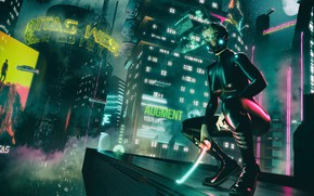 Wallpaper Girl, Music, The city, Sword, Background, Latex, Club, Cyber, Cyberpunk, Synth, Retrowave, Synthwave, New Retro ...