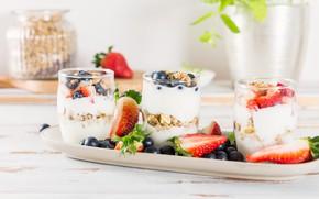 Picture berries, Breakfast, nuts, yogurt, oatmeal, granola