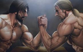 Picture look, hand, fight, male, beard, muscle, art, armrestlings
