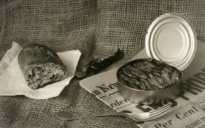 Picture plug, bread, sprats, newspaper, canned