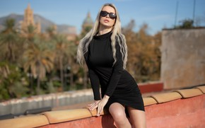 Picture forest, trees, woods, blue sky, outside, sexy woman, posing, black dress, sunglasses, beautiful face, outdoors, …