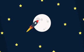 Picture space, stars, flight, the moon, rocket