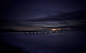 Picture sea, night, bridge