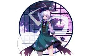Picture round, sword, window, girl, Touhou, Touhou, Touhou