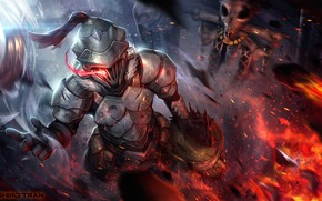 Picture background, fire, head, knight, Goblin Slayer, The killer of goblins