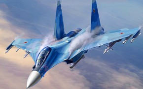 Picture Sukhoi, The Russian air force, the 4+generation, Su-30CM, serial upgraded, Videoconferencing Russia, Russian double multi-purpose …