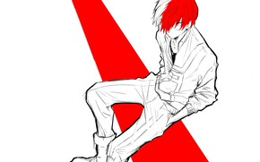 Picture look, guy, sitting, My hero Academy, Todoroki Shouto, My Hero Academia, Boku No Hero Academy, …