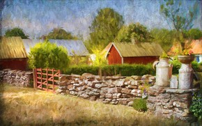 Picture trees, the fence, gate, village, art, houses, painting, stone, masonry