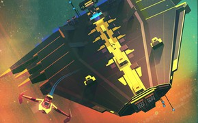 Picture The game, Space, Style, Art, Space, Art, Spaceship, Style, Game, Digital, Illustration, Transport, Spaceship, Minimalism, …