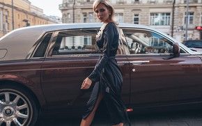 Wallpaper machine, auto, girl, style, model, Rolls-Royce, dress, Rome Rome, Oksana Streltsova