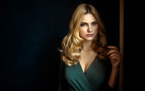 Picture look, pose, background, model, portrait, makeup, dress, hairstyle, blonde, beauty, Carla Sonre, Damian Feather