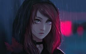 Picture autumn, look, girl, sheet, rain