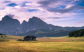 Picture house, grass, sky, trees, field, landscape, Italy, nature, mountains, clouds, Alps, South Tyrol, Dolomites, far …