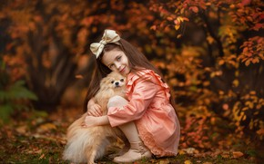 Picture autumn, look, mood, dog, friendship, girl, bow, friends, long hair, bokeh, Spitz, Anastasia Barmina