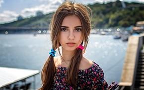 Picture look, the sun, landscape, river, model, portrait, makeup, hairstyle, braids, brown hair, beauty, bokeh, Monika, …