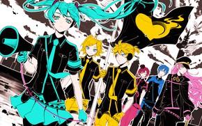 Picture flag, Vocaloid, Vocaloid, characters, Rin, Hatsune Miku, Len